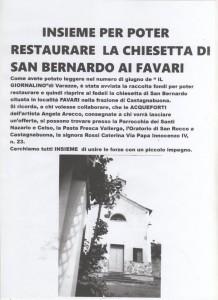 Avviso restauro S.Bernardo Favari